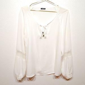 Motivi White Sheer Peasant Blouse - Size Medium